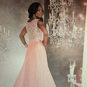 Prom dress silky chiffon beaded bodice
